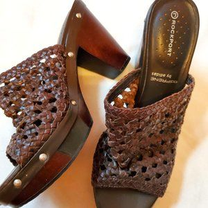 Braided Woven Studded Leather Wood Sandal